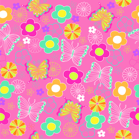 pink butterfly: Pink Butterfly and Flowers Seamless Repeat Pattern