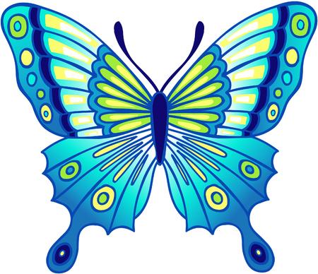 파란색 나비 벡터 일러스트 레이션