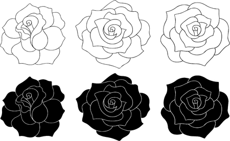 Roses Vector Illustration (silhouettes and outlines) Vectores