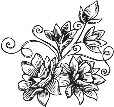 woodcut: Ornamental Floral Bouquet Vector Illustration