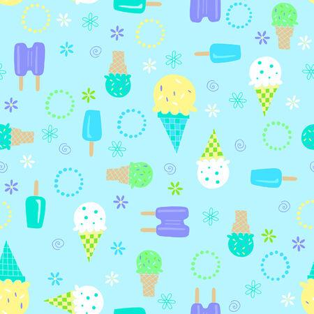 Ice Cream Seamless Repeat Pattern Vector Illustration