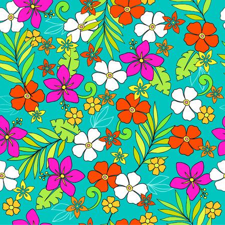 熱帯の花シームレスな繰り返しパターンのベクトル図