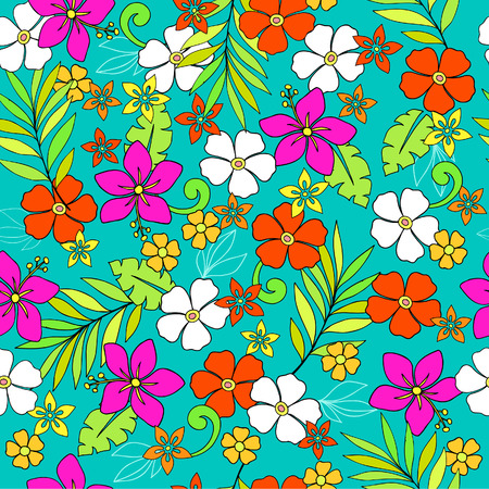 Tropical Flowers Seamless Repeat Pattern Vector Illustration Vettoriali