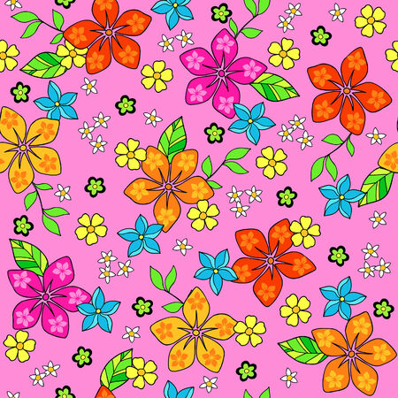 Pink Tropical Flowers Seamless Repeat Pattern Vector Illustration Vector