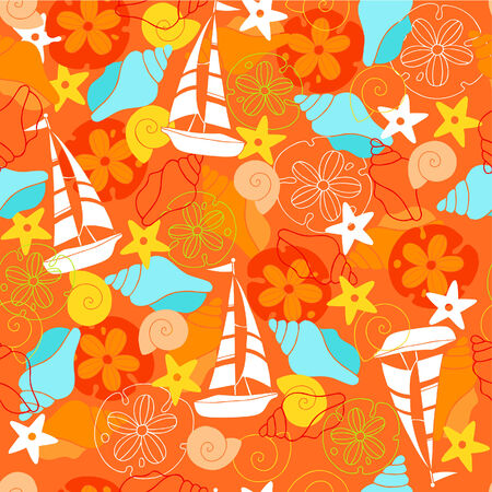 Sailboats and Seashells Seamless Vector Repeat Pattern