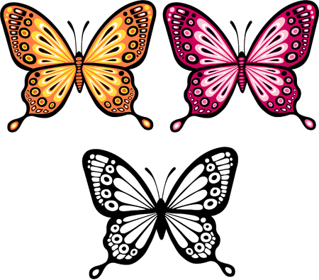 Butterflies and Silhouette Vector Illustration Фото со стока - 3310545