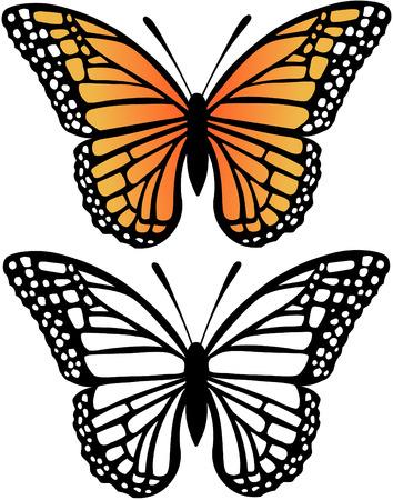 mariposas volando: Mariposa Monarca y la silueta ilustraci�n vectorial