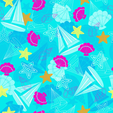 Sailboats and Starfish Seamless Vector Repeat Pattern Vector