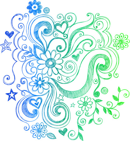 Sketchy Doodle Flowers and Swirls Vector Illustration Vettoriali