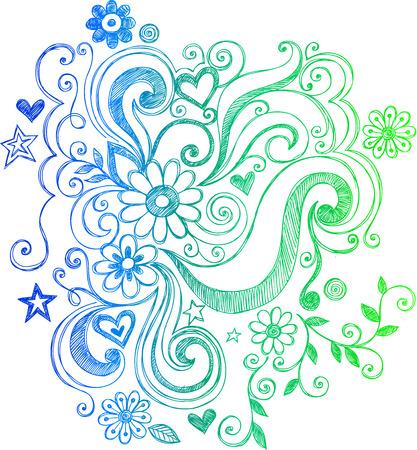 Sketchy Doodle Fleurs et tourbillons Vector Illustration Banque d'images - 3339165