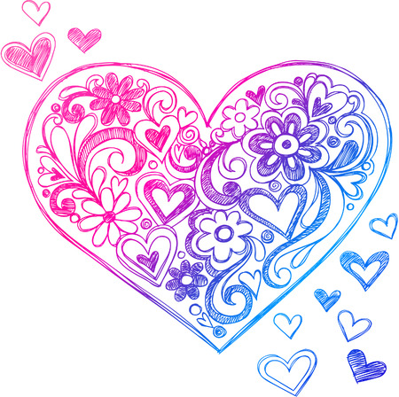 tshirts: Sketchy Doodle Heart and Swirls Vector Illustration