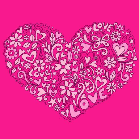 Doodle amor corazón ilustración vectorial Foto de archivo - 3339167