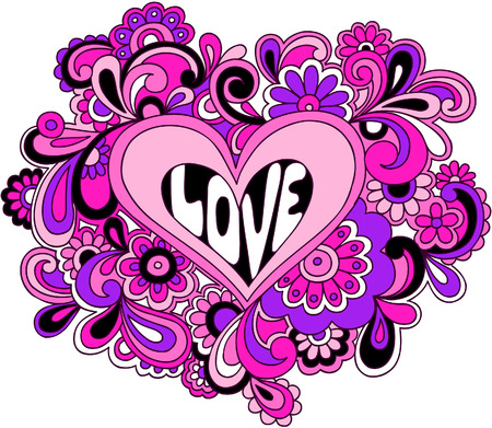 Psychedelic Love Heart Vector Illustration Vettoriali