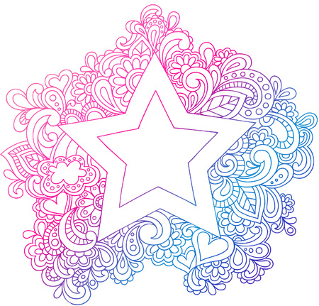 doodle art clipart: Psychedelic Star Outline Vector Illustration Illustration