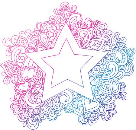 Psychedelic Star Outline Vector Illustration Vettoriali