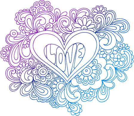 psychedelic: Psychedelic Heart Outline Vector Illustration