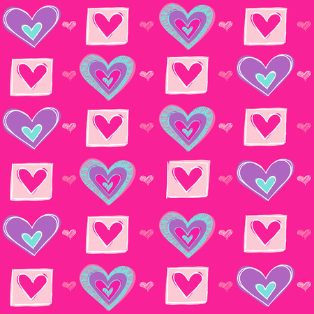 Valentines Heart Seamless Repeat Pattern Vector Illustration Vector