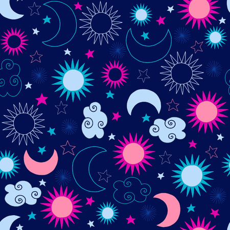 Celestial Moon and Stars Seamless Repeat Pattern Vector Illustration