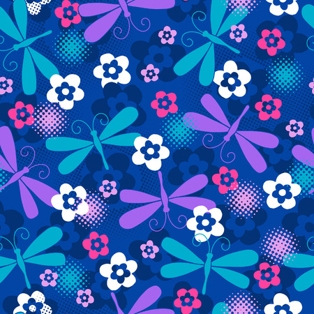textiles: Dragonfly Seamless Repeat Pattern Vector Illustration