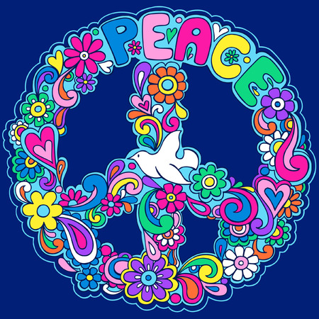 Psychedelic Peace with Dove Sign Vector Illustration