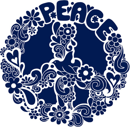 Psychedelic Peace Sign with Dove Silhouette Vector Illustration