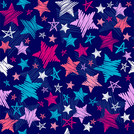 Scribble Stars Seamless Repeat Pattern Vector Illustrations