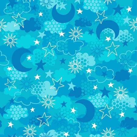 clouds: Celestial Moon, Sun, Stars Seamless Repeat Pattern Vector Illustrations