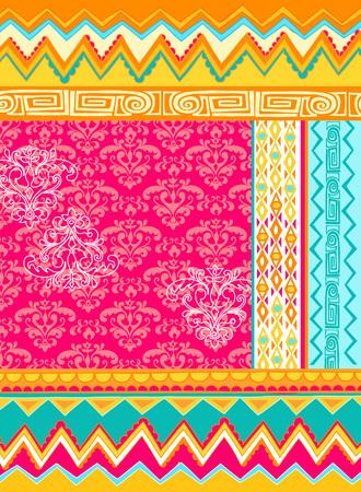Mixed Folkloric Damask Design Vector Illustration Vector