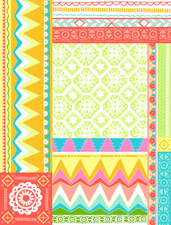 Mixed Folkloric Zig-Zag Design Vector Illustration