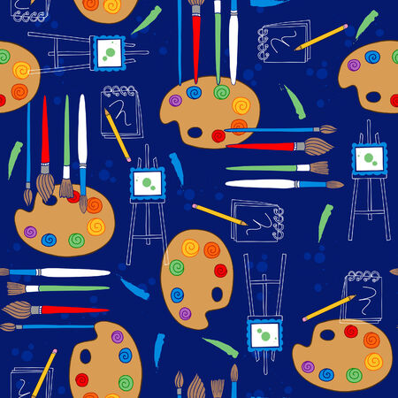 textiles: Artist Palette and Paintbrushes Seamless Repeat Pattern Vector Illustration