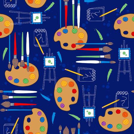 Kunstenaar palet en penselen naadloze herhalen patroon Vector illustratie Stock Illustratie