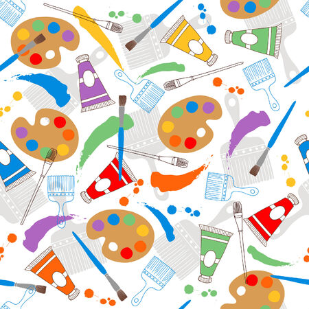 Art Paints and Paintbrushes Seamless Repeat Pattern Vector Illustration Vector