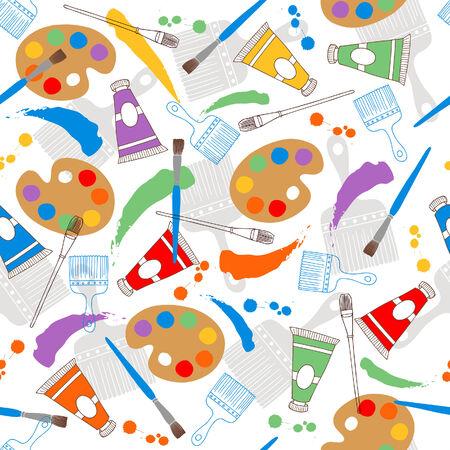 Verf voor kunst- en Paintbrushes naadloze herhalings patroon vector illustratie