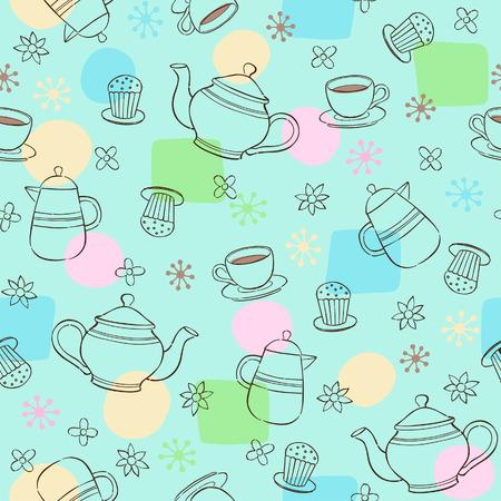 Coffee and Tea Seamless Repeat Pattern Vector Illustration Ilustrace