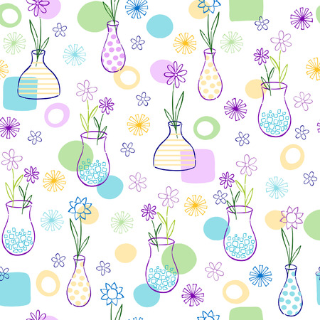 Flowers in Vases Seamless Repeat Pattern Vector Illustration