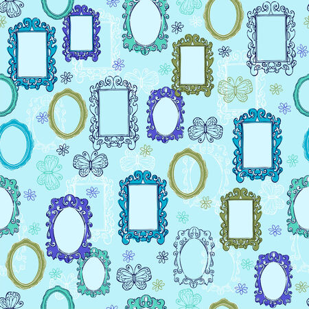 Mirrors and Frames Seamless Repeat Pattern Vector Illustration