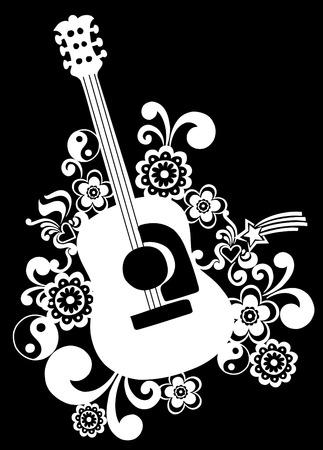 アコースティック ギターと花のベクトル図