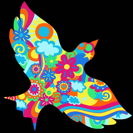 60's: Dove with Psychedelic Pattern Vector Illustration Illustration