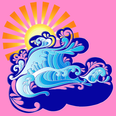 Waves and Sun with Swirls Vector Illustration