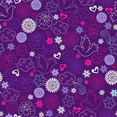 Doves and Flowers Seamess Repeat Pattern Vector Illustration