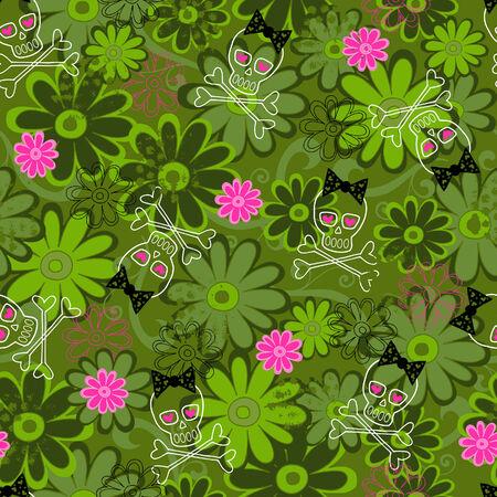 skull and flowers: Calaveras y flores sin fisuras Camo repetir patr�n de ilustraci�n vectorial