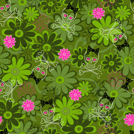 Skulls and Camo Flowers Seamless Repeat Pattern Vector Illustration