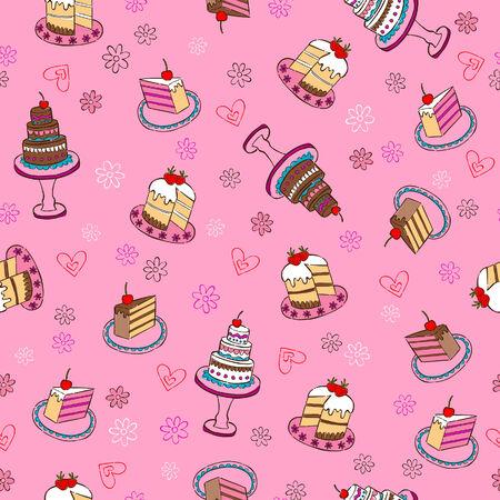 Fancy Cakes Herhaal Seamless Pattern Vector Illustratie: Stock Illustratie