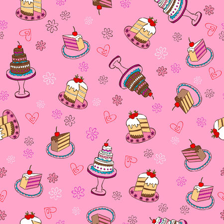 Fancy Cakes Seamless Repeat Pattern Vector Illustration Vector