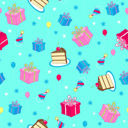 Birthday Cake and Gifts Seamless Repeat Pattern Vector Illustration Vector