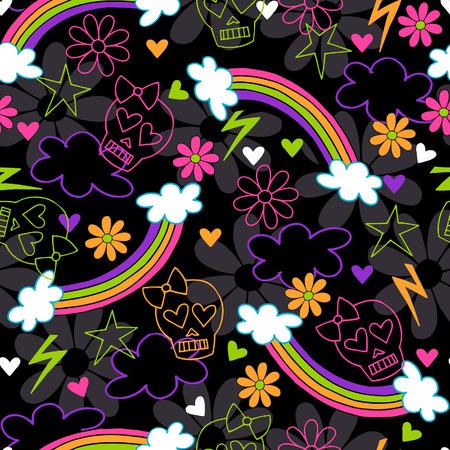 Girly Skulls and Rainbows Seamless Repeat Pattern Vector Illustration Vector
