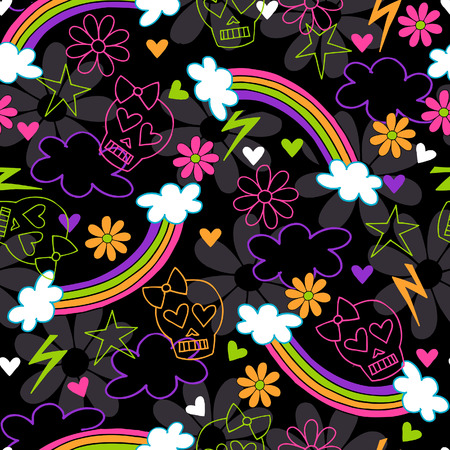 Girly Skulls and Rainbows Seamless Repeat Pattern Vector Illustration