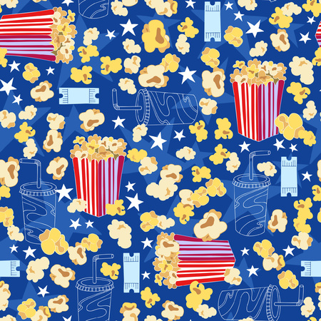 Popcorn Seamless Repeat Pattern Vector Illustration
