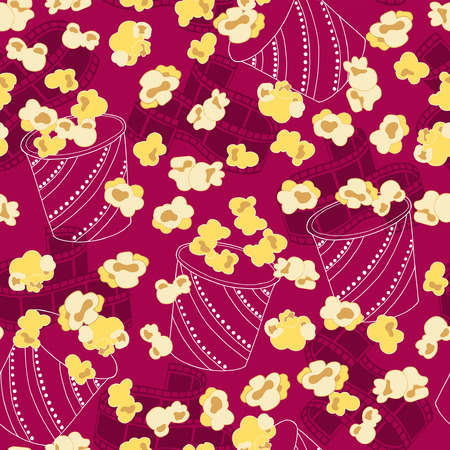 movie theater: Movie Theater Popcorn Seamless Repeat Pattern Vector Illustration