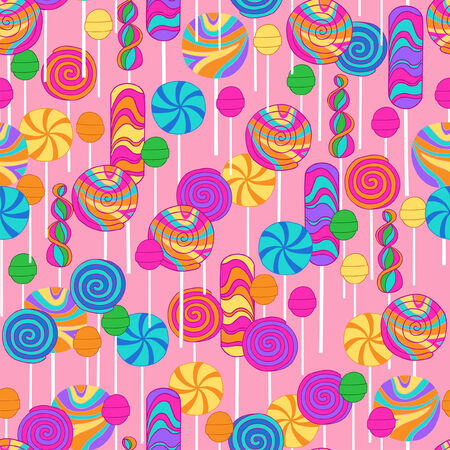 Lollipops Candy Seamless Repeat Pattern Vector Illustration Vettoriali